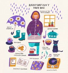 Rainy day isn't that bad, right? :) Food and object illustration Free Illustration, Soft Blankets, Rainy Days, Cute Drawings, Self Care, No Time For Me, Happy Life, Doodles, Artsy