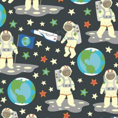 This is a clever 'glow in the dark' fabric by Camelot Cottons. It is designed by Vita Mechachonis. The white printed areas glow (and really do glow) in the dark. The astronauts are 2 inches or 5 cm high. I have two other prints from this collection. Sewing Projects, Craft Projects, Novelty Fabric, Fabric Suppliers, Christmas Wrapping, Printing On Fabric, The Darkest, Glow, Kids Rugs