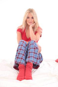 Red bed socks in 90% pure alpaca, made in Britain.