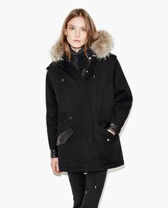 Parka with fur collar and leather details - PARKA WOMAN