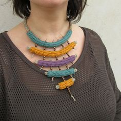 Crochet necklace,tribal necklace,statement necklace,fiber necklace,knit necklace,Native inspired,natural hemp,mustard,gift for her