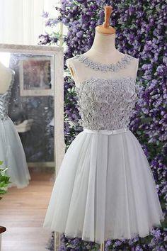 Prom Dresses 2018 #PromDresses2018, Grey Prom Dresses #GreyPromDresses, Short Prom Dresses #ShortPromDresses