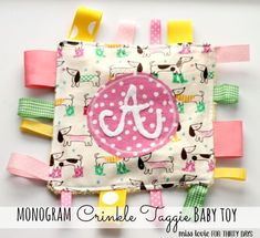 Sewing Baby Gift Monogram Crinkle Taggie Baby Toy - I'm excited to have a more lax schedule, but summer always scares me a bit because of that. Here's my solution --- this printable summer rules sheet. Quilt Baby, Sewing Projects For Kids, Sewing For Kids, Sewing Ideas, Diy Projects, Sewing Toys, Sewing Crafts, Easy Baby Blanket, Tag Blanket