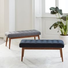 Mid-Century Bench blue for behind leather couch between living and dining area