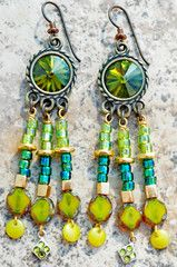 Earrings | Emerald | Chandelier | Chartreuse | Crystal | XO Gallery | XO Gallery