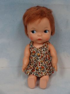 "RARE Vintage Ideal 1967 Red Head 10"" HoneyBall Doll w/Dress* Honey Ball #Ideal #DollswithClothingAccessories"