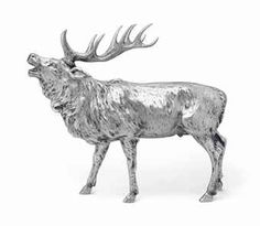 A LARGE GERMAN SILVER MODEL OF A STAG  c.1901