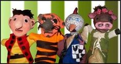 Paper mache puppet heads and hand sewn body clothes.
