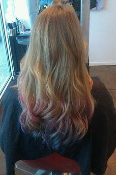 ombre pink to purple to blue tips