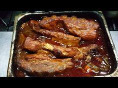 Costillas al horno BBQ con papas fritas en recetas faciles - YouTube