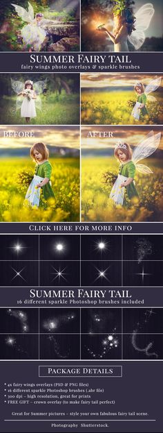 Fairy Wings photo overlays with bonus - 16 different sparkle brushes and crown. Summer fairy tail set, photo overlays for Photoshop.