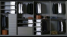 We at Sky Kitchens and Bedrooms specialize in designing adorable walk in wardrobes in London. Our fittings are according to modern European styles and trends. Modular Closet Systems, Modular Wardrobes, Wardrobe Systems, Men Closet, Walk In Closet, Closet Space, Dressing Room Closet, Closet Bedroom, Wardrobe Storage