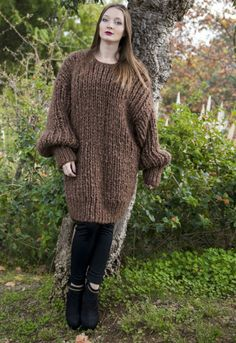Extra Chunky Longhair mohair sweater L  XL  T-neck removable by LanaKnittings