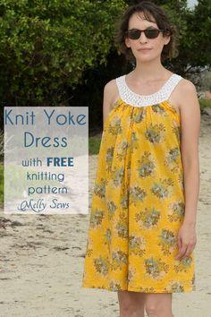 Knit Yoke Sundress with free knitting pattern - Sew a pillowcase dress and add a knit yoke - Melly Sews