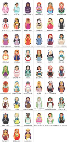 world Matryoshkas.not quite kokeshi but same family Peg Doll, Doll Set, Afghan Girl, Matryoshka Doll, Kokeshi Dolls, Thinking Day, Art Plastique, Felt Crafts, Girl Scouts