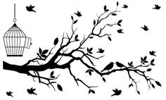 Adesivo Cerejeira Gaiola      R$89,00 Simple Wall Paintings, Wall Painting Decor, Diy Wall Art, Stencil Designs, Wall Art Designs, Wall Design, Bird Silhouette Art, Silhouette Vector, Wall Drawing
