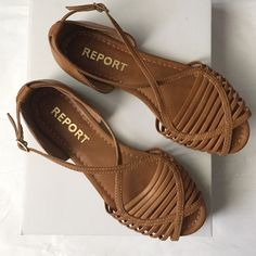 Report Brown sandals! Report brown strappy sandals! Great for summer and spring! Buckled sandals! Gently used condition! Report Shoes Sandals