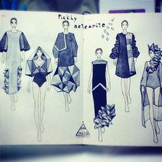 Sketches from designers around the world Fashion Illustration Portfolio, Fashion Portfolio, Fashion Illustrations, Fashion Design Sketches, Sketch Design, Moda Peru, Geometric Fashion, Dress Sketches, Fashion Figures