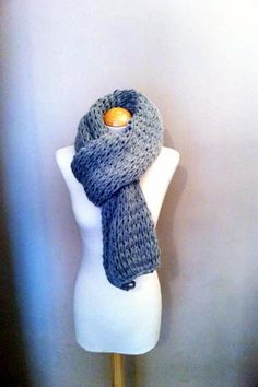 Hand Knitted Luxurious Long Super Chunky Scarf, knitted in a fantastic Grey colour on Etsy, £39.99
