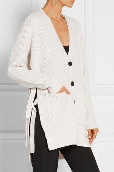 Off-white wool and cashmere-blend Button fastenings through front 70% wool, 30% cashmere Dry clean