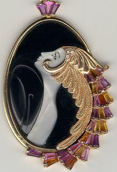 Erté - Bijoux - Pendentif - Or, Diamants, Nacre et Onyx - 1979