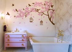 Wall Decal Nursery Wall Stickers Cherry blossom Tree branch with birds birdcage, Nursery Wall Cherry Blossom Tree, Blossom Trees, Cherry Tree, Nursery Wall Stickers, Vinyl Wall Decals, Katie Scott, Family Tree Picture Frames, Cottage Shabby Chic, Main Image