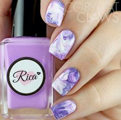 Purple & white nails, watercolor nail art