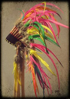 Summer Rainbow Headdress - Red, Yellow, Orange, Turquoise & Green Feather American Indian Headpiece - Yellow Side Feathers. $75.00, via Etsy.