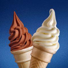 soft ice cream cones - chocolate and vanilla