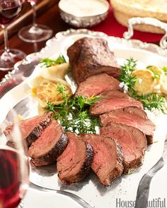 Perfect roast tenderloin of beef with horseradish sauce. Serve this succulent dist- enhanced by a creamy sauce with just a bit of tang- for seated dinners or festive buffets.