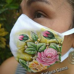 Hand Painted Dress, Painted Clothes, Mask Painting, Fabric Painting, Easy Face Masks, Diy Face Mask, Chinese Painting Flowers, Mouth Mask Design, Diy Plaster