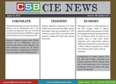 CSB CIE News: Bringing to you important news and key highlights from corporate, industry, and economy. Don't miss the updates! To read more, visit http://www.csbhouse.com #stocks #globalnews #researchreports
