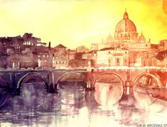 This time watercolor from Rome, Italy. This is the view on St. Peter's Basilica and the Ponte Sant'Angelo during the sunset. I totally made it up, becau. Sunset in Rome Art And Illustration, Art Aquarelle, Art Watercolor, Rome Art, Watercolor Architecture, Architecture Art, Art Graphique, Art Design, Monuments