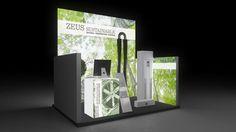 427 Heizungsanlagen Zeus Sustainable | Schöner Messestand für einen Hersteller von Heizungsanlagen.   Der kleine Reihenstand fällt durch die hohe, einseitig hinterleuchtete Rückwand und...