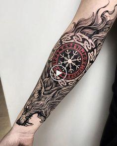 New viking tattoo sleeve tatoo ideas Viking Tattoo Sleeve, Wolf Tattoo Sleeve, Tattoo Sleeve Designs, Sleeve Tattoos, Wolf Sleeve, Shoulder Armor Tattoo, Tattoo Wolf, Warrior Tattoos, Badass Tattoos