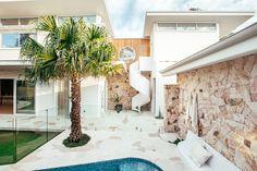 Backyard Reveal - Kyal & Kara : Kyal & Kara Stone Cladding, Timber Cladding, Modern Coastal, Coastal Style, Backyard Pool Designs, Backyard Ideas, Garden Ideas, Pool Paving, Kyal And Kara