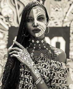 Fashion editorial female face portrait photography, beautiful African black woman with tribe pattern paint, African inspired fashion inspiration ideas, black female portrait African Beauty, African Fashion, African Inspired Fashion, Photography Women, Portrait Photography, Fashion Photography, Beauty Photography, Editorial Photography, Photography Magazine