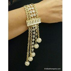 """Beautiful bracelet from Tiffany Masterpiece Fall 2015 collection. Luxurious drape of fringes and tassels in this #bracelet with five rows of 18 karat gold links and rose-cut diamonds set in a hexagonal pattern with a rock crystal clasp. Design director Francesca Amfitheatrof took inspiration from richly layered fashion of the 1940-1960s, as well as the 1950s decorative style know as """" Hollywood Regency """". ●♢● #tiffanymasterpieces #highjewelery #gold #diamonds #lovegold #lovediamonds #gem…"""