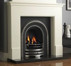CAST IRON GRANITE WHITE SURROUND WOOD COAL SOLID FUEL BURNING FIREPLACE SUITE