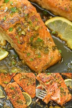 Cajun Salmon - This recipe is a true delight. The pan-seared, Cajun-seasoned salmon covered with garlic-butter sau - Cajun Recipes, Seafood Recipes, Dinner Recipes, Cooking Recipes, Healthy Recipes, Simple Fish Recipes, Whole Fish Recipes, Cooking Pork, Easy Recipes