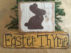 Primitive Country Easter Bunny Rabbit Easter Thyme Shelf Sitter Wood Block Set #CountryPrimitiveRustic #DoughandSplinters