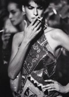 Linda Evangelista backstage for Gianni Versace Runway Show, 1990/91