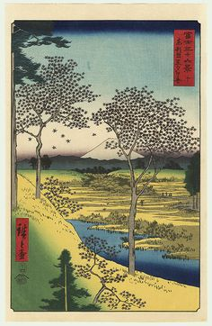 Twilight Hill at Meguro in the Eastern Capital by Hiroshige (1797 - 1858)