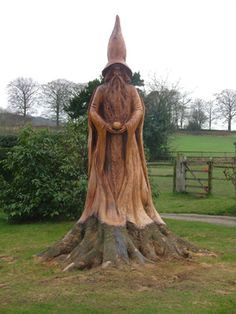 Wizard (private commission), by Andrew Frost, Wood Sculptor, Crich Tramway Museum, Derbyshire, United Kingdom.