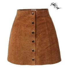 WHITE CROW Weston Womens A-Line Button Down Suede Mini Skirt ❤ liked on Polyvore featuring skirts, mini skirts, brown suede mini skirt, button up skirt, button down skirt, button front skirt and short skirts