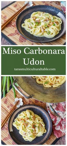 Miso Carbonara Udon and Los Angeles: Little Tokyo - Tara's Multicultural Table- Thick udon noodles are coated in a creamy miso sauce with cheese and bacon. Easy Japanese Recipes, Asian Recipes, Ethnic Recipes, Rice Recipes, Japanese Food, Easy Recipes, Pasta Dishes, Food Dishes, Homemade Pasta