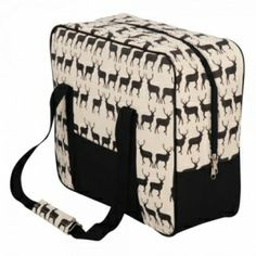 Wicker hampers look the part, but are not as practical as cool bags. Cool bags used to be decidedly UN-cool. Now they're available in all sorts of designs, like this one - Anorak's Kissing Stags Cool Bag from Black By Design - Simply Black #moshuluspringpicnic @Helen Foster Shoes