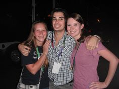 """Mandy, Joey, and I after an awkward group hug, and Joey tugging me over to his side, """"Get over here!"""""""