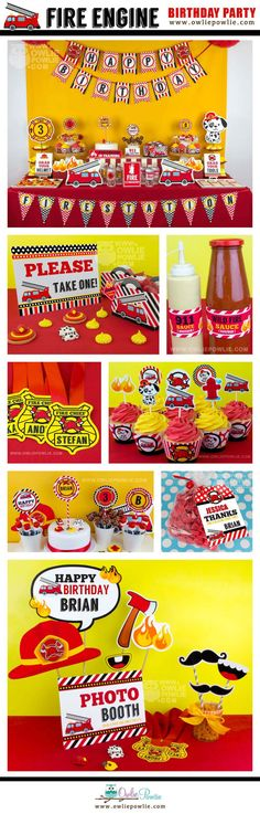 Fire Engine BIRTHDAY Party Printable Package & Invitation
