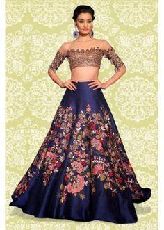 Bollywood Replica - Fancy Blue & Golden Lehenga Choli - 60161